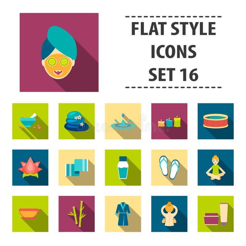 Kuuroord vastgestelde pictogrammen in vlakke stijl De grote collection spa vectorillustratie van de symboolvoorraad stock illustratie