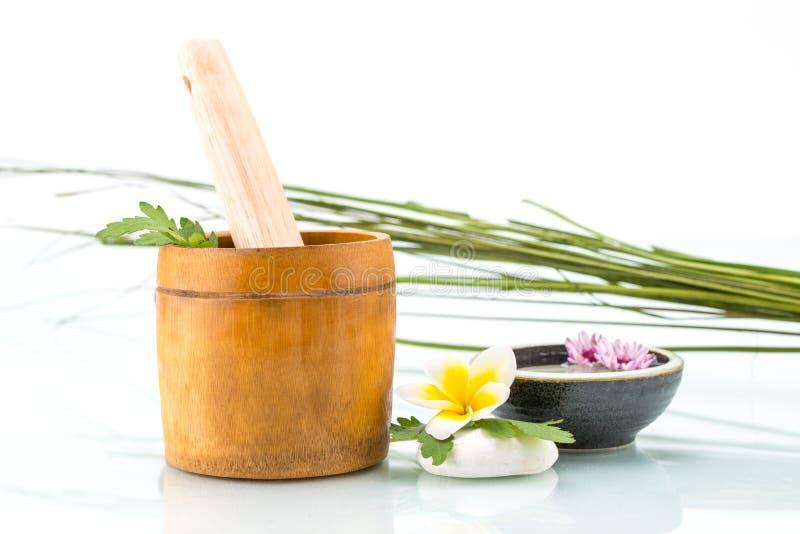 Kuuroordconcept met met de hand gemaakt kruid, Bloemen en blad royalty-vrije stock afbeeldingen