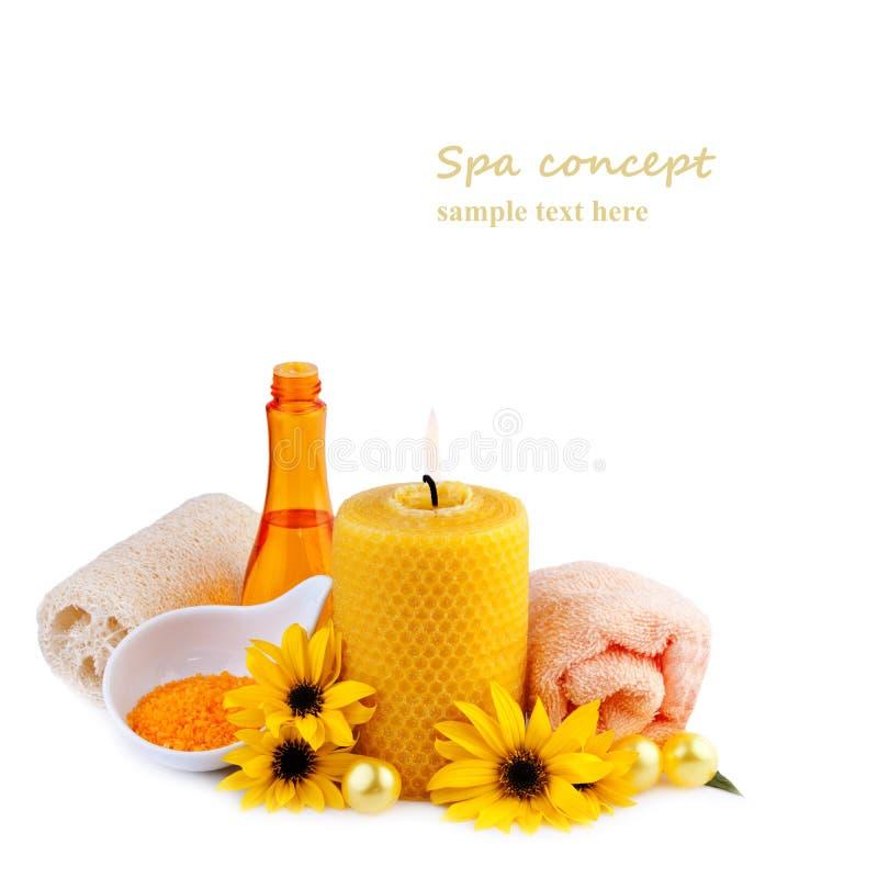 Kuuroordproducten in gele kleur stock afbeeldingen