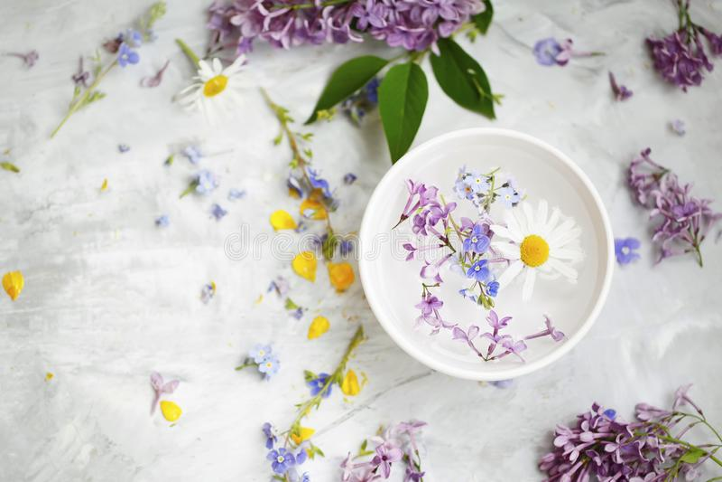 Kuuroordstilleven met bloemen, hoogste mening van beauty spa behandelingen met bloemenuittreksels en oliën stock afbeeldingen