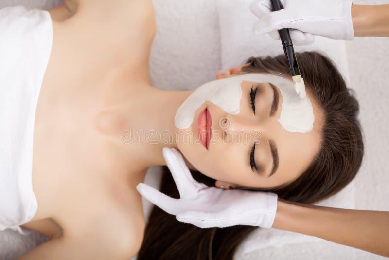 Kuuroordtherapie voor jonge vrouw die gezichtsmasker hebben bij schoonheidssalon - stock fotografie