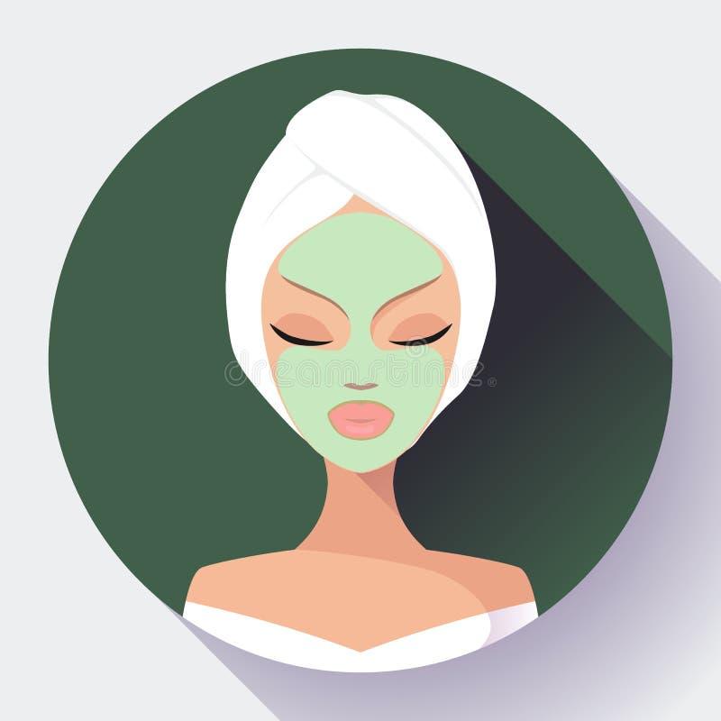 Kuuroordvrouw die gezichts reinigend masker toepassen Schoonheidsbehandelingen stock illustratie