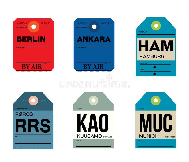 Kuusamobagagelabel van Berlijn Ankara München royalty-vrije illustratie