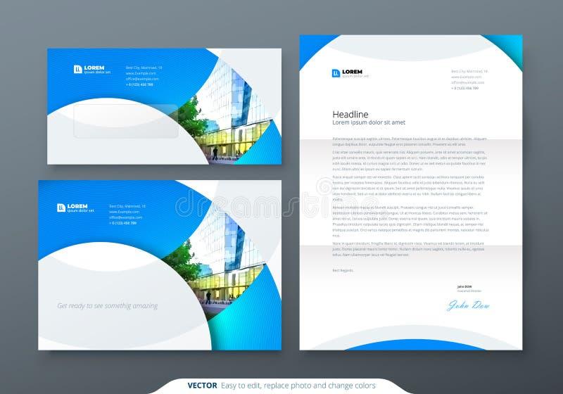 Kuvert DL, C5, brevhuvud Brevpappermall för företags affär för kuvert och bokstav vektor illustrationer