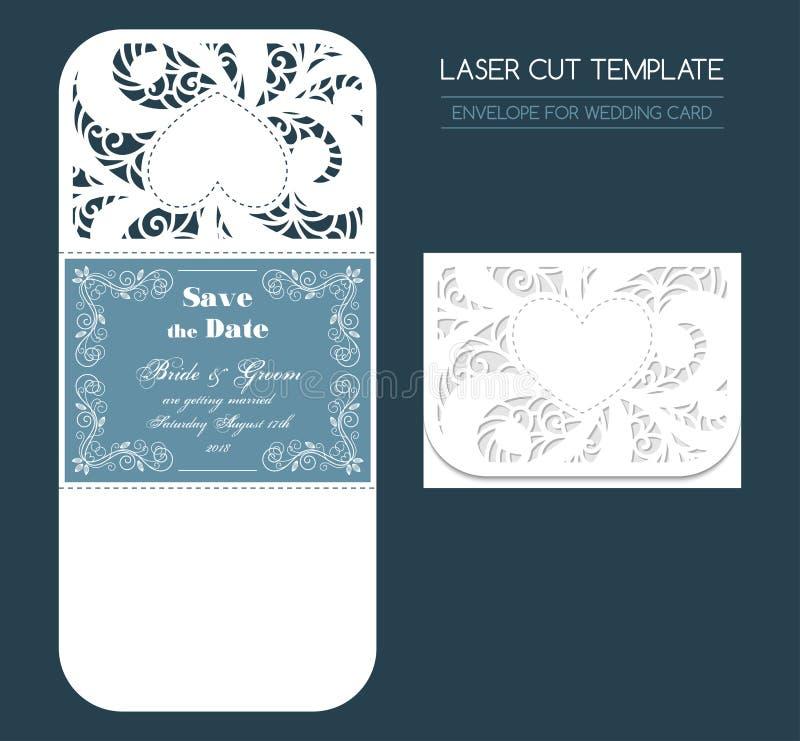 Kuvert för brölloplaser-snitt royaltyfri illustrationer