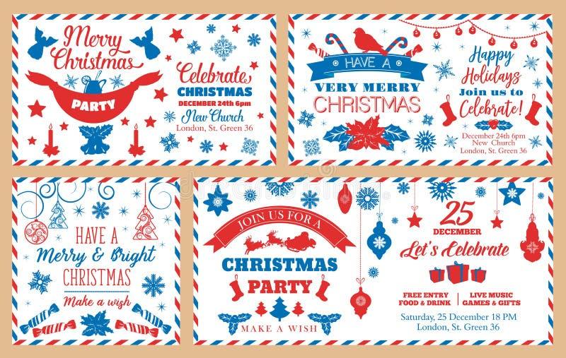 Kuvert för julparti, feriegarneringar vektor illustrationer