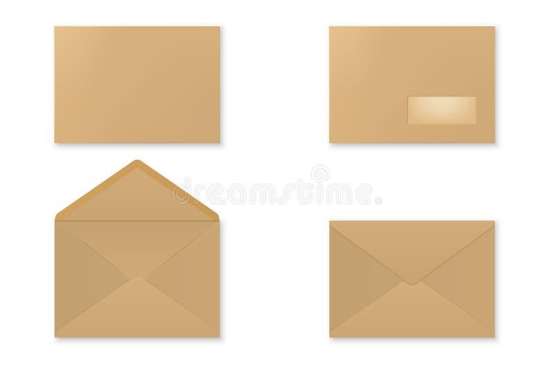 Kuvert för tomt papper vektor illustrationer