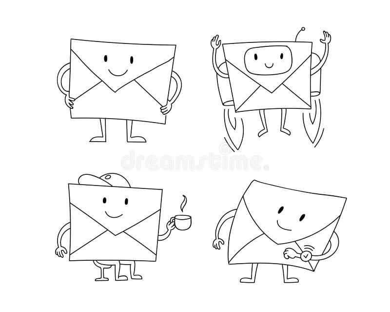 Kuvert märker att vänta som är, överför abonnemanget Illustration för clipart för materiel för vektor för teckensamlingsuppsättni stock illustrationer