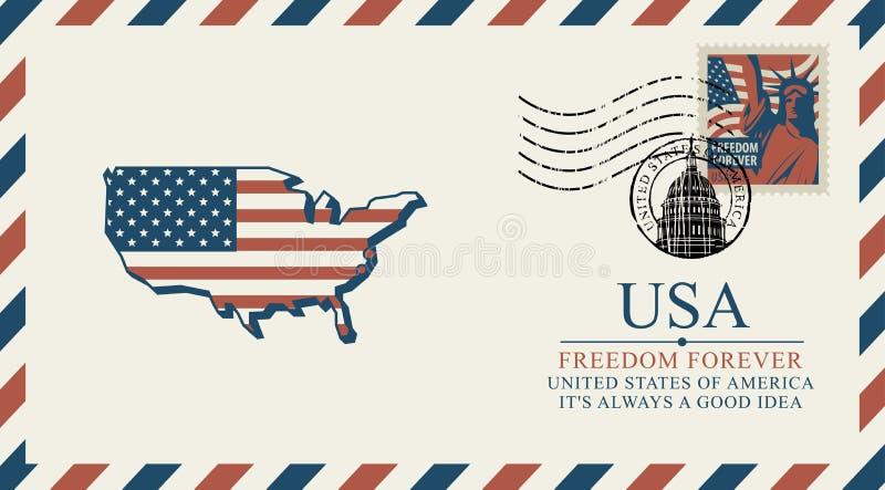 Kuvert med översikten av Amerika i färger av flaggan vektor illustrationer