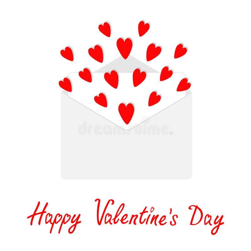 Kuvert med att flyga röda hjärtor Öppen pappers- bokstav Happypy valentindag Älska hälsningskortet Taget i Genua, Italien Plan de stock illustrationer