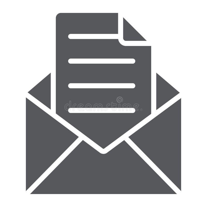 Kuvert med bokstavsskårasymbolen, post och stolpe, öppet kuverttecken, vektordiagram, en fast modell på ett vitt stock illustrationer