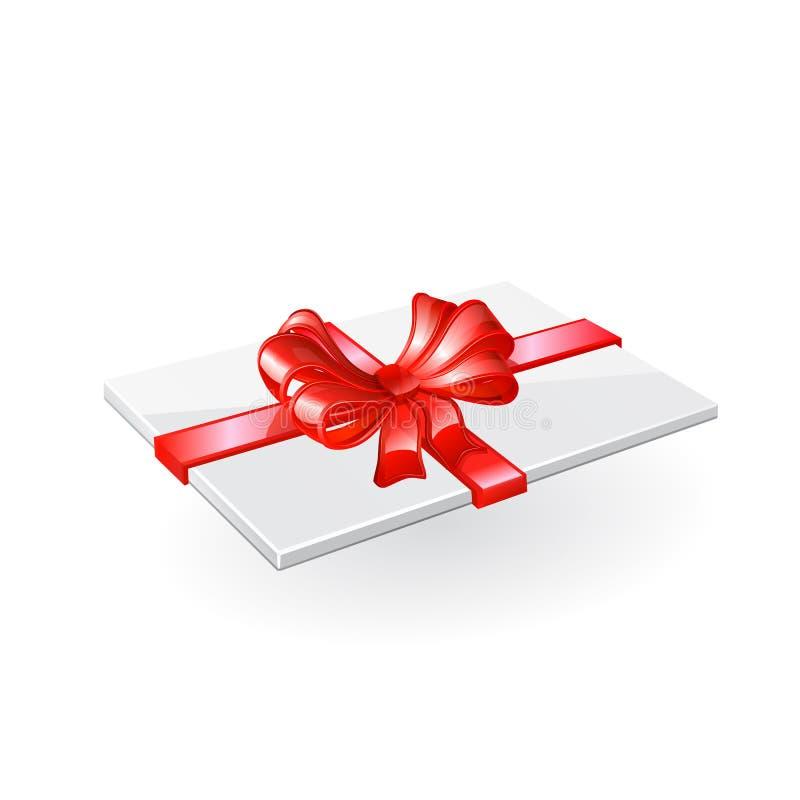 Kuvert med det röda bandet och pilbågen stock illustrationer