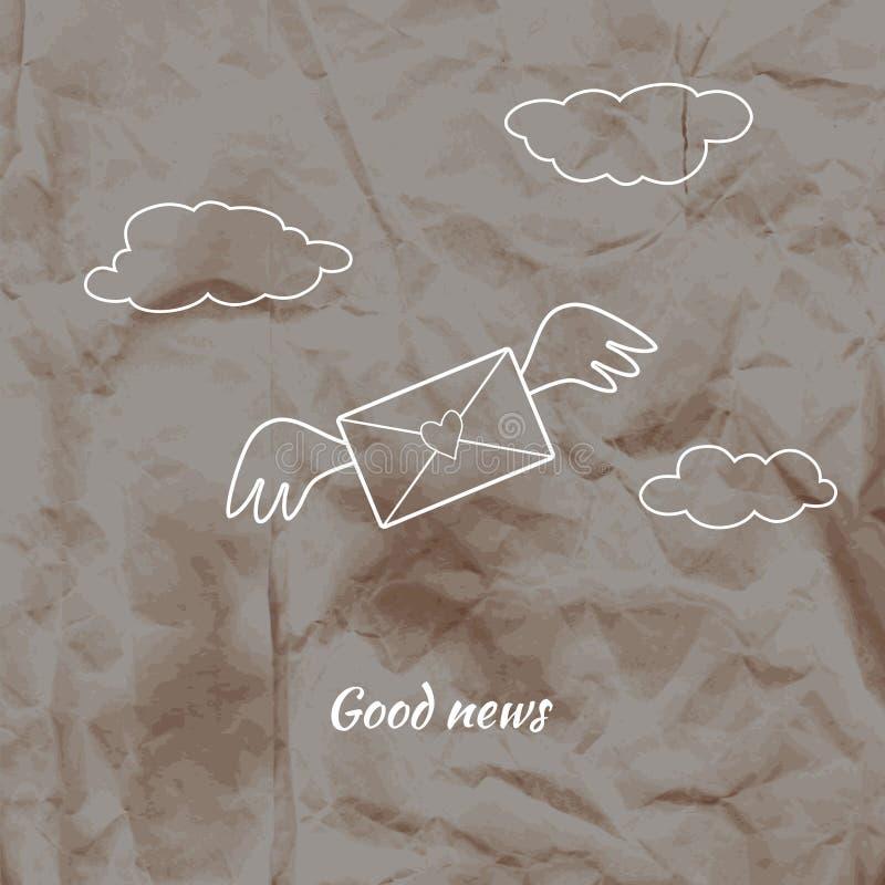 Kuvert med en hjärta och vingar på skrynklig backgrou för kraft papper vektor illustrationer