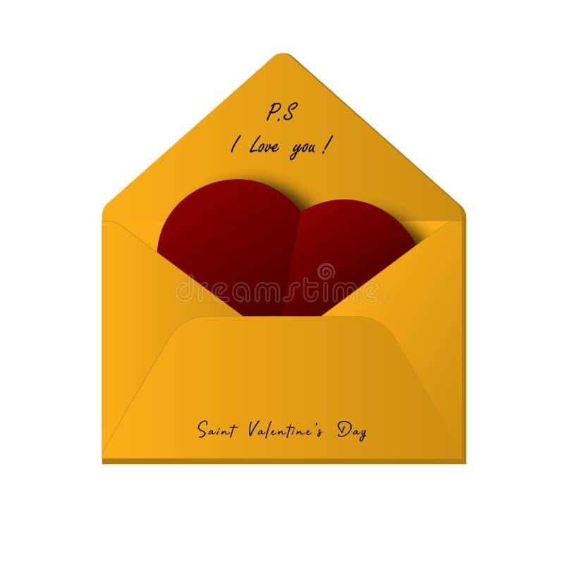 Kuvert med hjärta och text: Jag älskar dig och Sankt dag för valentin` s också vektor för coreldrawillustration stock illustrationer