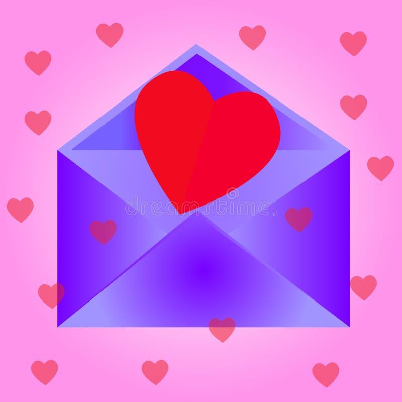 Kuvert med hjärta, rosa bakgrund arkivfoton