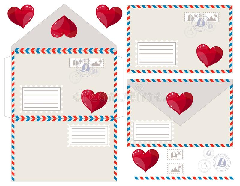 Kuvert med hjärta, vektorillustration vektor illustrationer