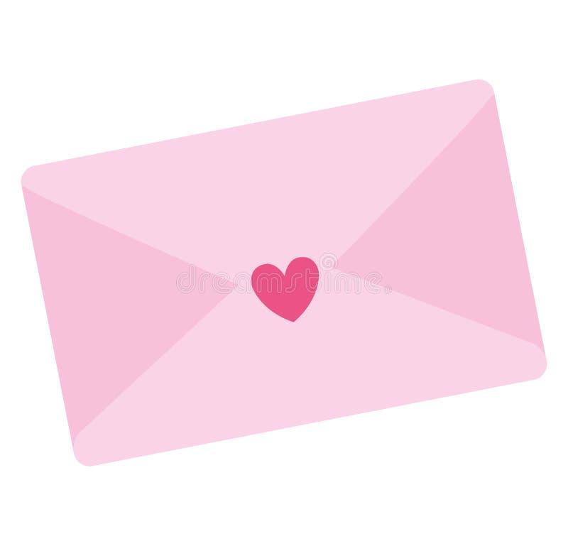 Kuvert med hjärtasymbolen vektor illustrationer