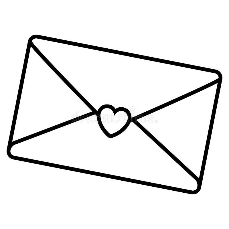 Kuvert med hjärtasymbolen stock illustrationer