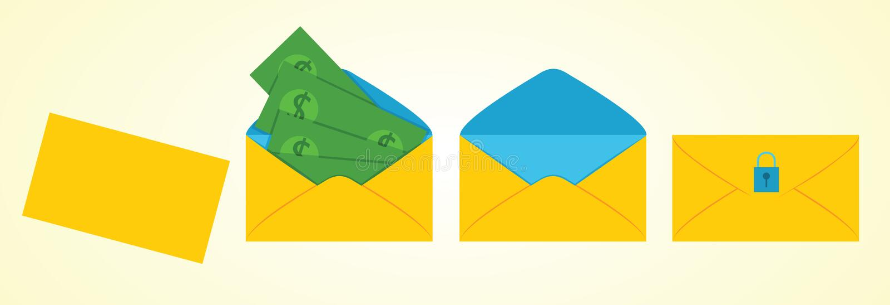 Kuvert med pengar inom royaltyfri illustrationer