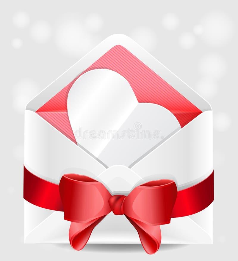Kuvert med röd pilbåge- och pappershjärta. royaltyfri illustrationer