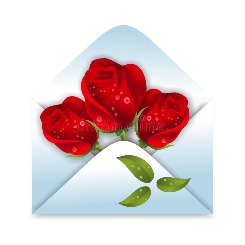 Kuvert med rosor royaltyfri illustrationer