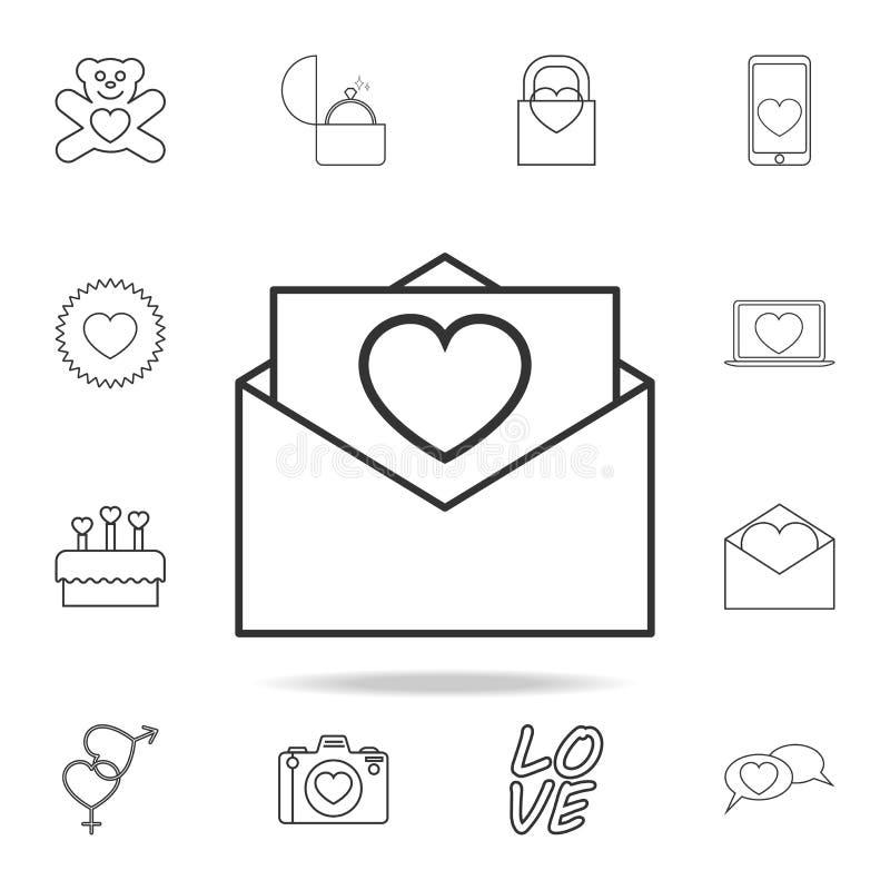 kuvert med symbolen för förälskelsebokstav Uppsättning av förälskelsebeståndsdelsymboler Högvärdig kvalitets- grafisk design Teck vektor illustrationer