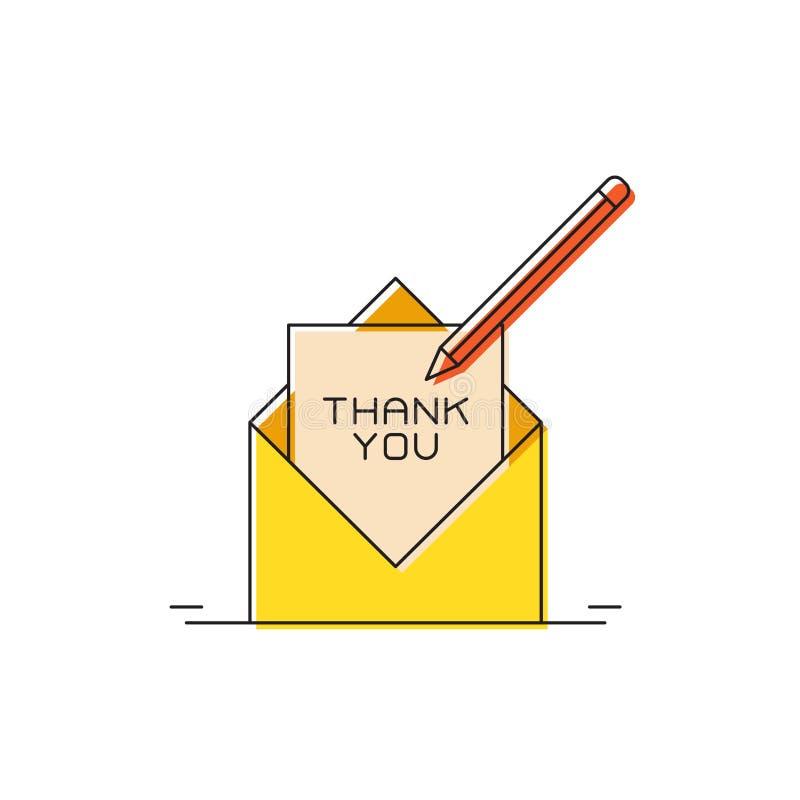Kuvert med tack för att du har skrivit vektorsymbolen isolerad på vit bakgrund royaltyfri illustrationer