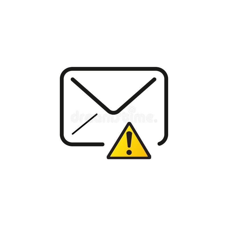 Kuvert med utropstecken, varningsikon Stamvektorbild isolerad på vit bakgrund stock illustrationer