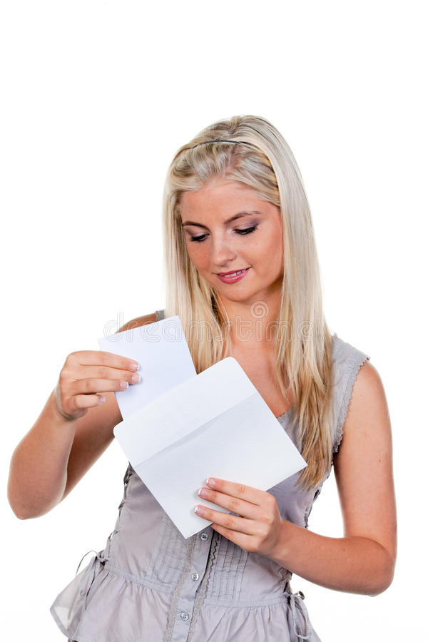 kuvertbokstavskvinna royaltyfria bilder
