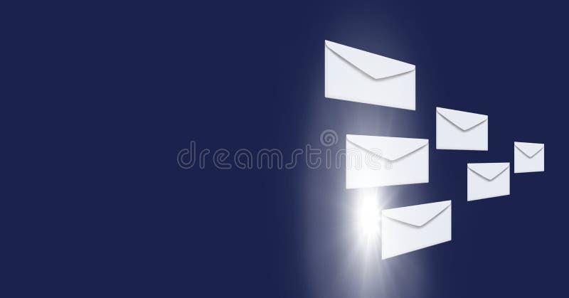 Kuvertbokstavsmeddelanden och händer genom att använda minnestavlan royaltyfri illustrationer