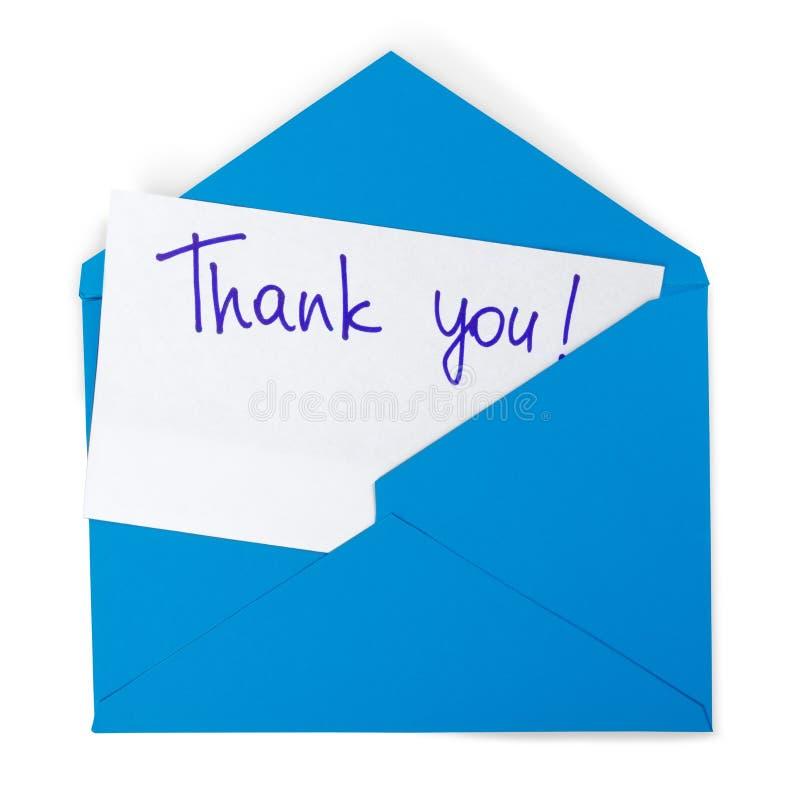 Kuvertet med tackar dig att notera royaltyfria bilder