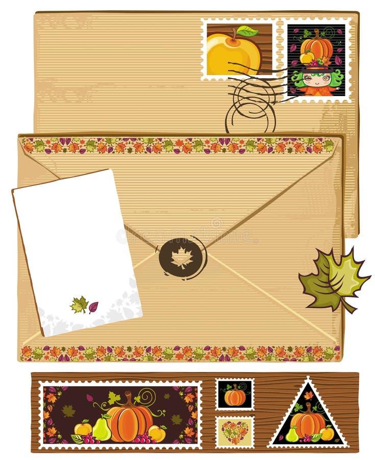 kuvertet stämplar tacksägelse stock illustrationer