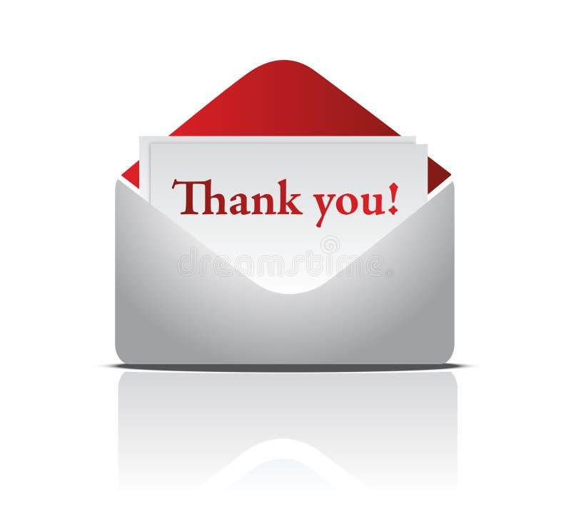 kuvertet tackar ord dig vektor illustrationer