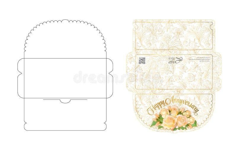 Kuvertmall med klaffdesign Lätt att vika Ordna till för att skriva ut det färgrika kuvertet för pengar May att användas för tacka vektor illustrationer