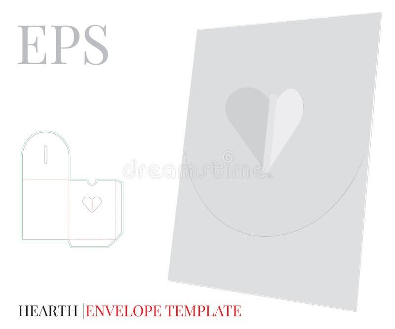 Kuvertmall, vektor med stansade/laser-snittlinjer Vit, tom, klar isolerad hjärtakuvertåtlöje upp vektor illustrationer