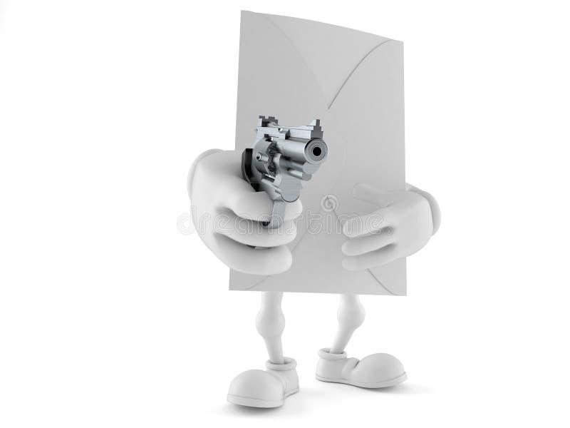 Kuverttecken som siktar ett vapen stock illustrationer