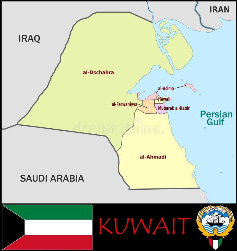 Kuwait Administrative Divisions Stock Illustration Illustration of