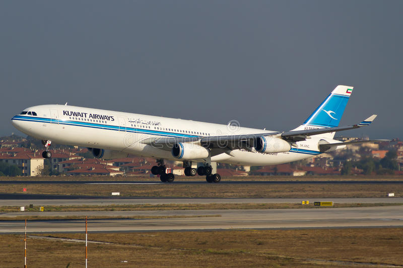Kuwait Airways Airbus A340. 300 at Istanbul royalty free stock photo