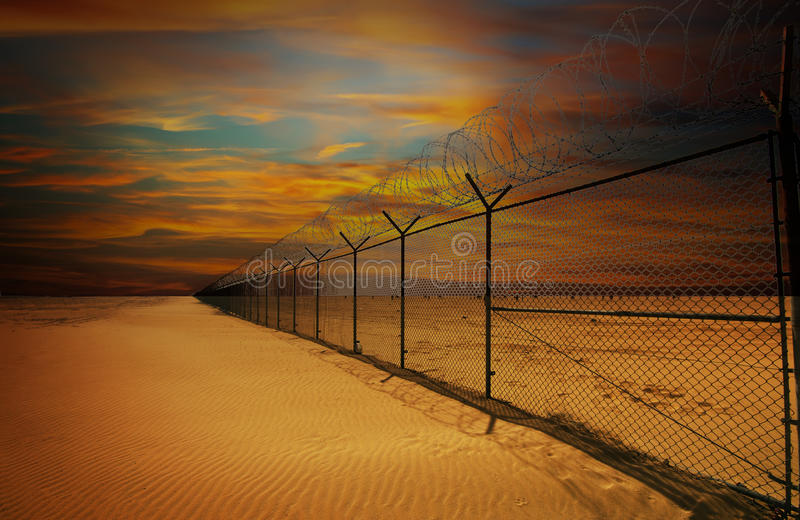 Kuwait border fence stock photo
