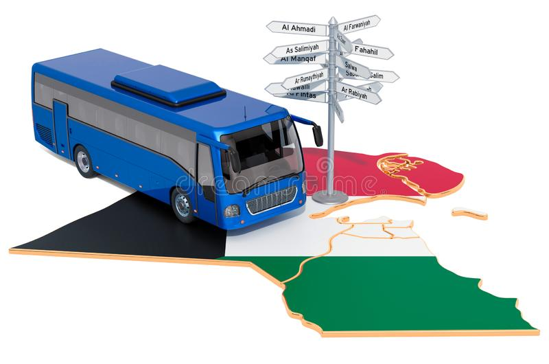 Kuwait Bus Tours concept. 3D rendering. Isolated on white background royalty free illustration