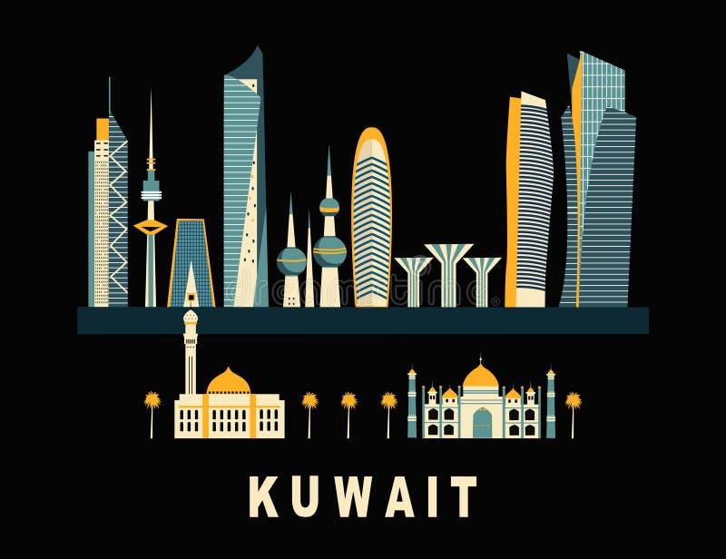 Kuwait City on black background. Travel background with Kuwait City on black background royalty free illustration
