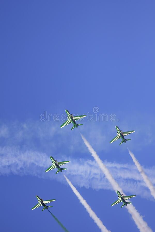 Kuwait City, Kuwait - Aviation Show - 15 January 2020 - Saudi Hawks Airplanes Squadron Air Performance royalty free stock photos