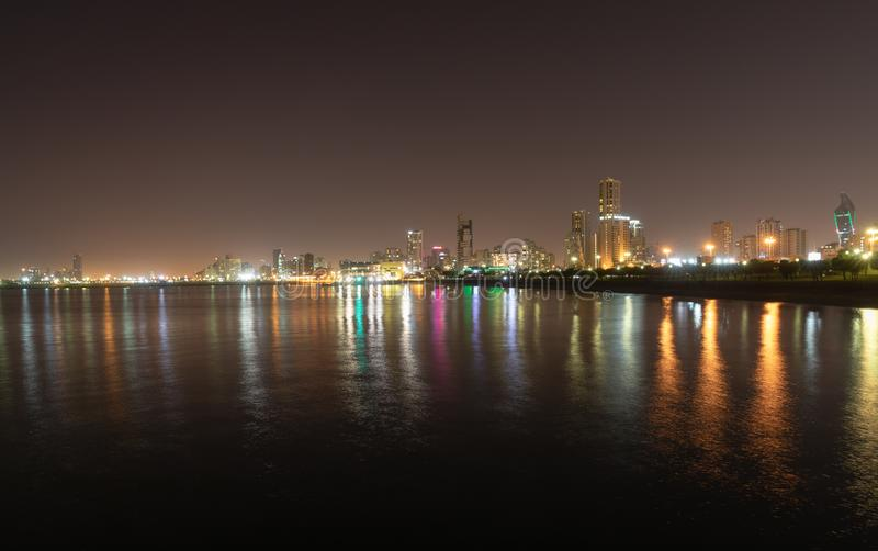 Kuwait at night. KUWAIT CITY, KUWAIT - 18 Mar 2018: Kuwait`s coastline and skyline at night stock photo