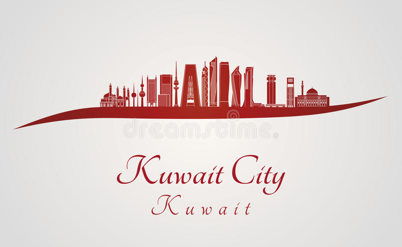 Kuwait City V2 horisont i rött royaltyfri illustrationer