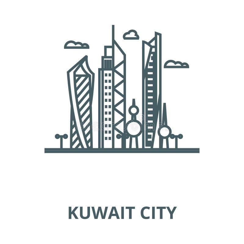 Kuwait City vektorlinje symbol, linjärt begrepp, översiktstecken, symbol royaltyfri illustrationer