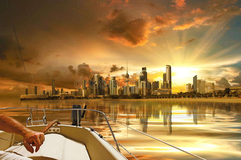 Kuwait City. View from inside the boat royalty free stock photography