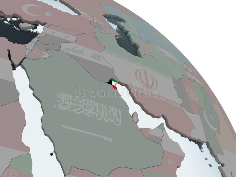 Kuwait con la bandera en el globo ilustración del vector