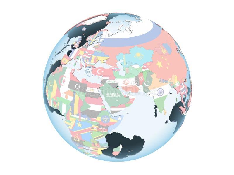 Kuwait con la bandera en el globo aislado stock de ilustración