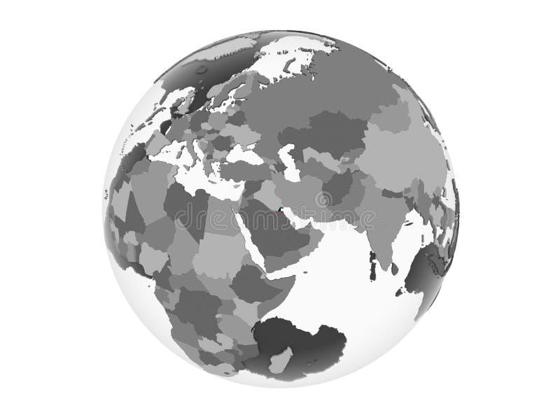Kuwait con la bandera en el globo aislado ilustración del vector