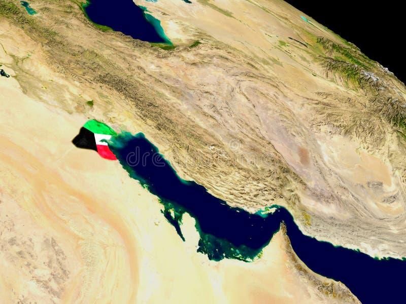 Kuwait con la bandera en la tierra libre illustration